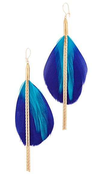 Serefina Double Drop Feather Earrings In Gold/blue