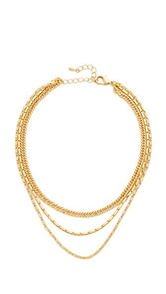Lacey Ryan Triple Chain Choker Necklace In Gold