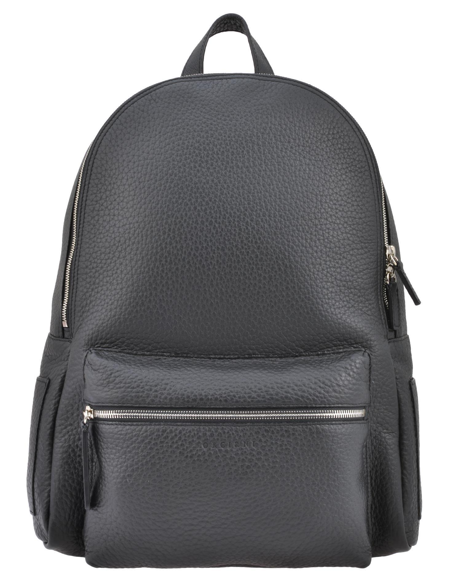 Orciani Leather Backpack In Black