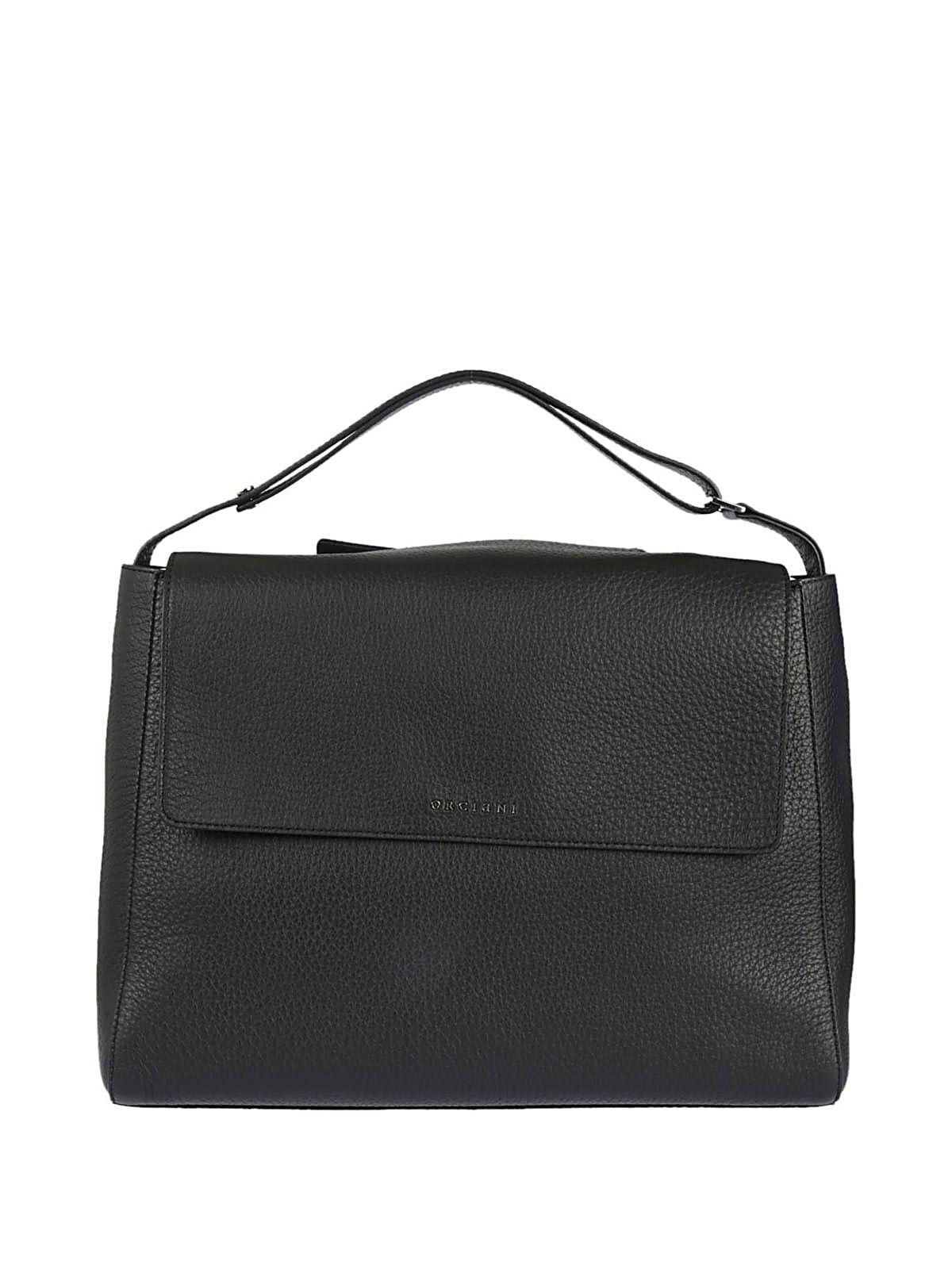 Orciani Soft Fold Over Tote In Black