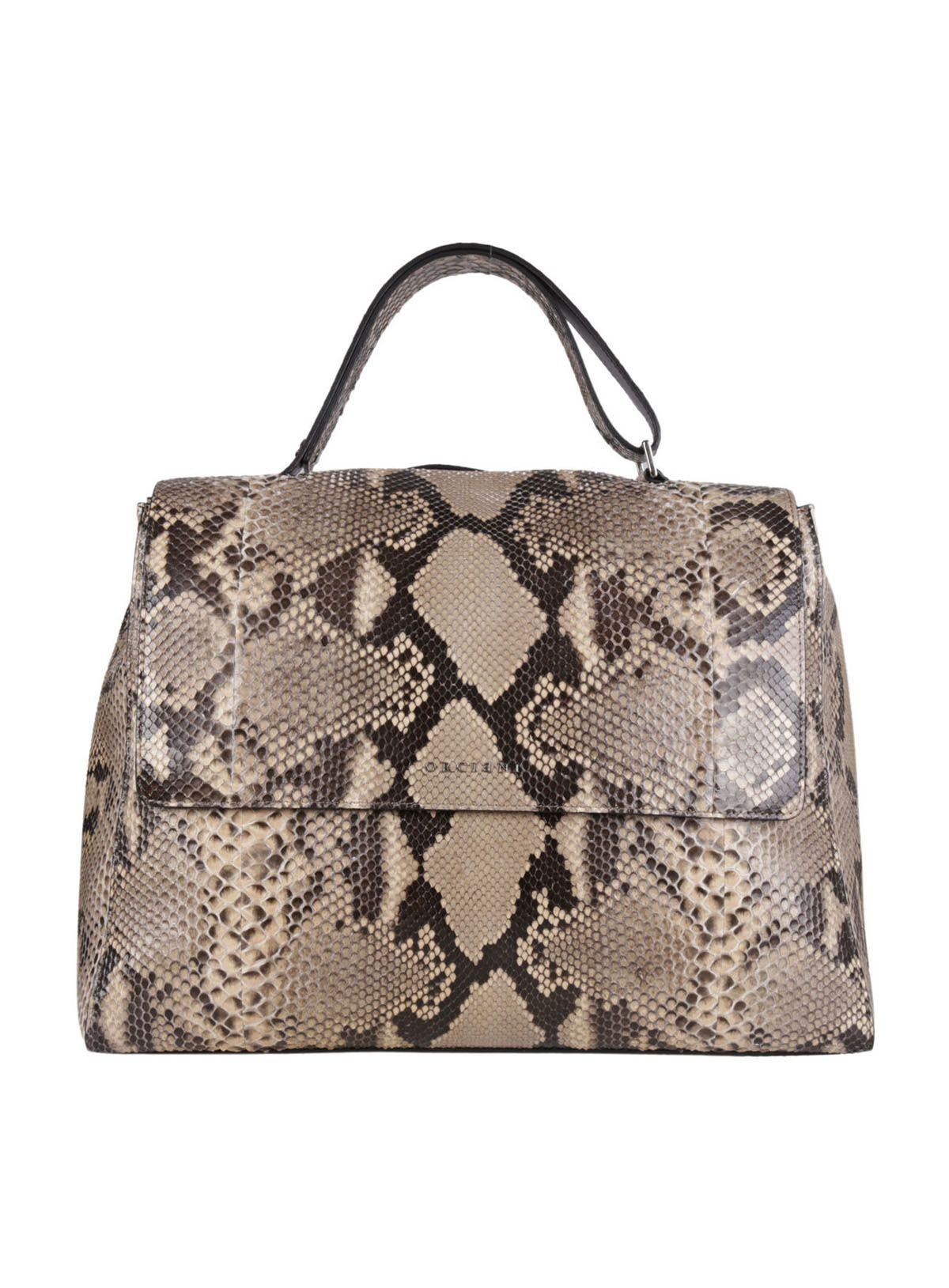 Orciani Snake Effect Top Handle Tote