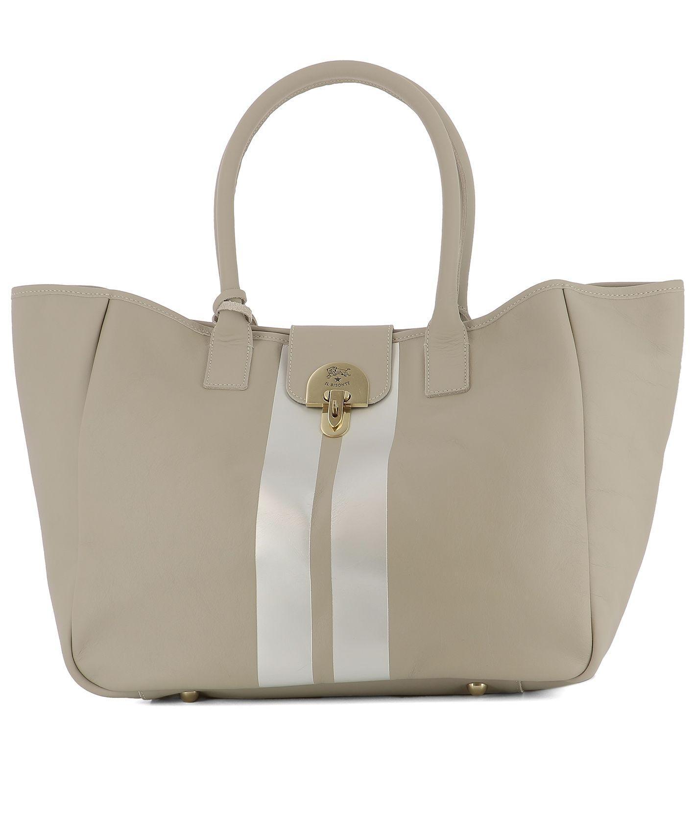 Il Bisonte Grey Leather Shoulder Bag