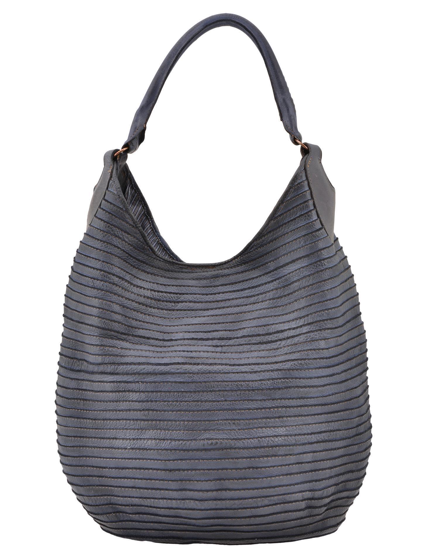 Majo Leather Shoulder Bag In Indaco