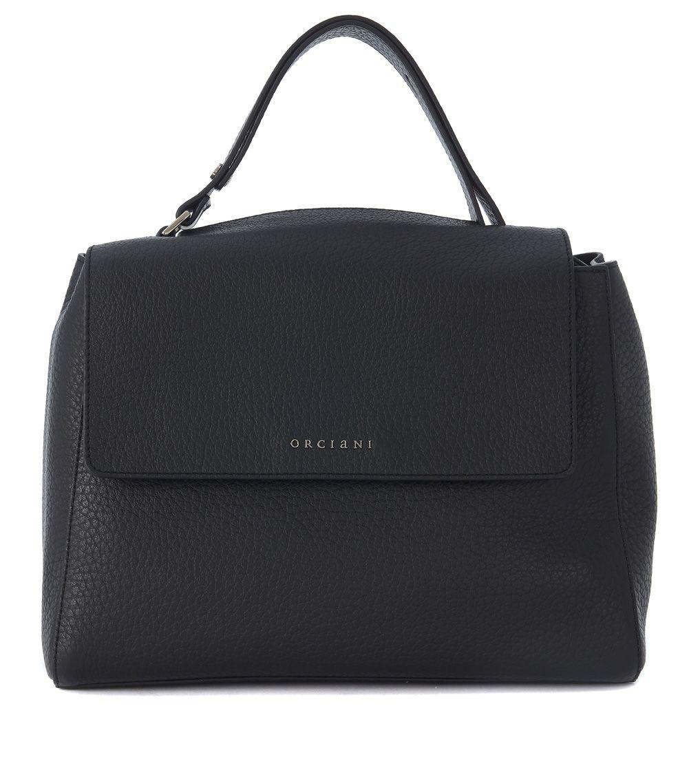 Orciani Black Tumbled Leather Handbag In Nero