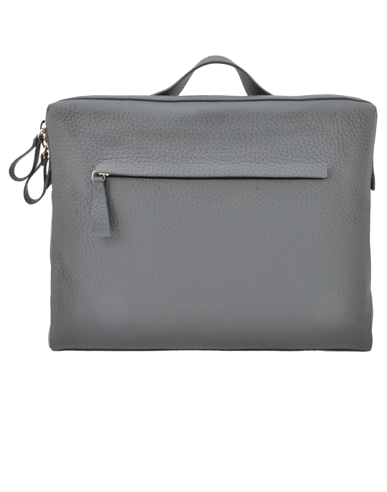 Orciani Leather Briefcase In Grey