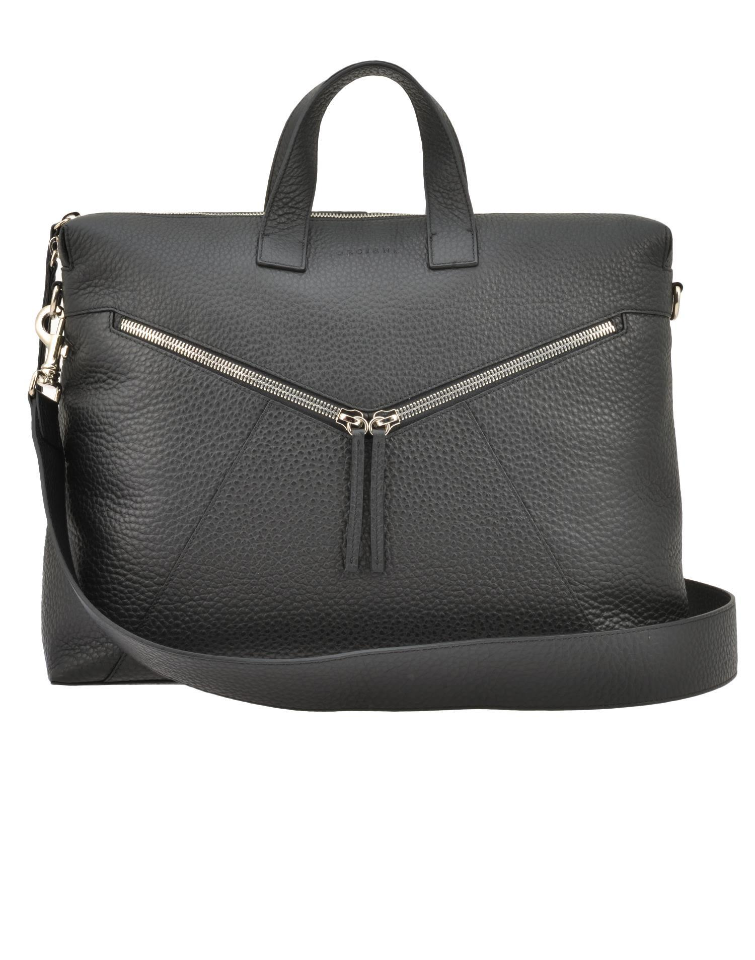 Orciani Leather Briefcase In Black