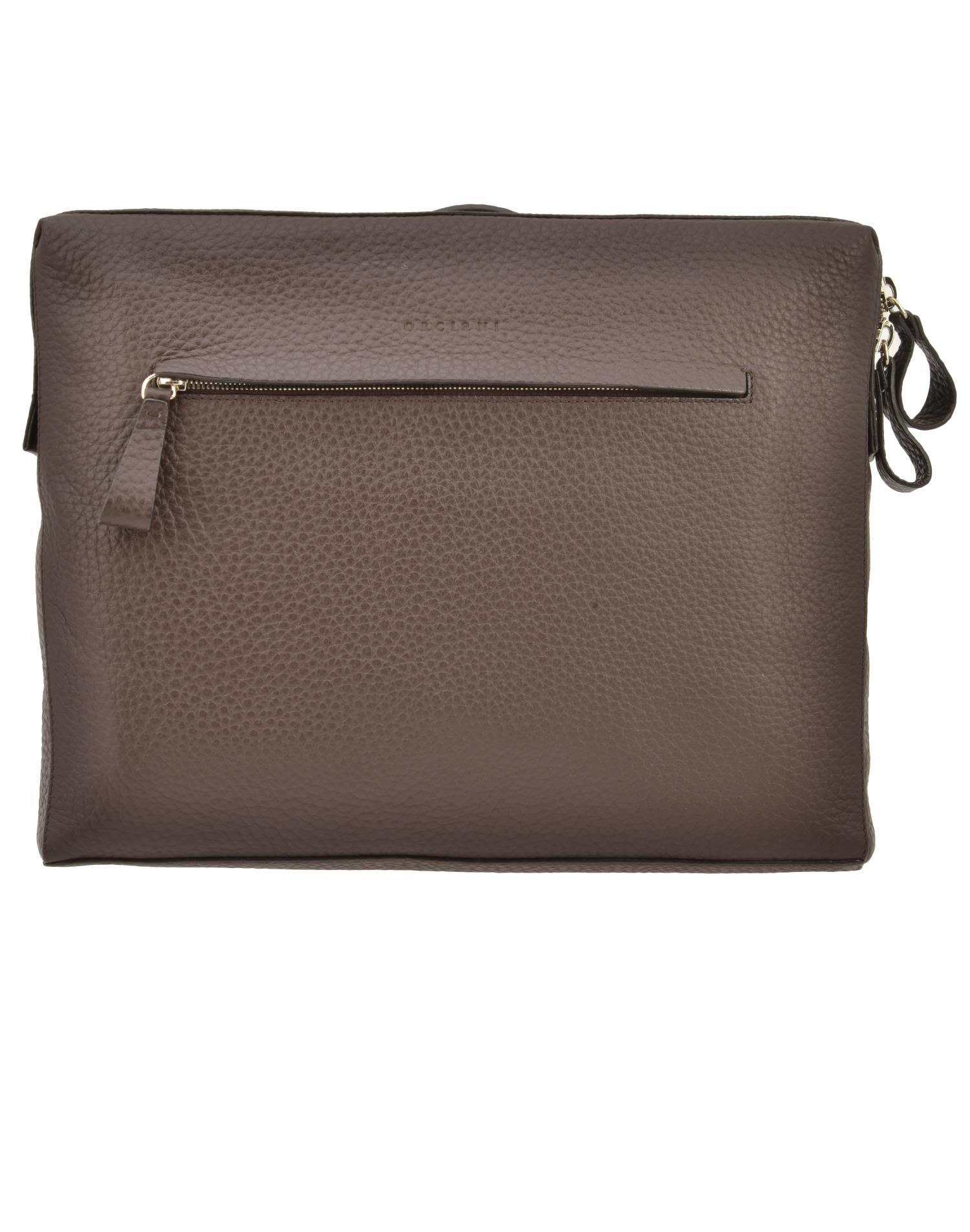 Orciani Leather Briefcase In Brown