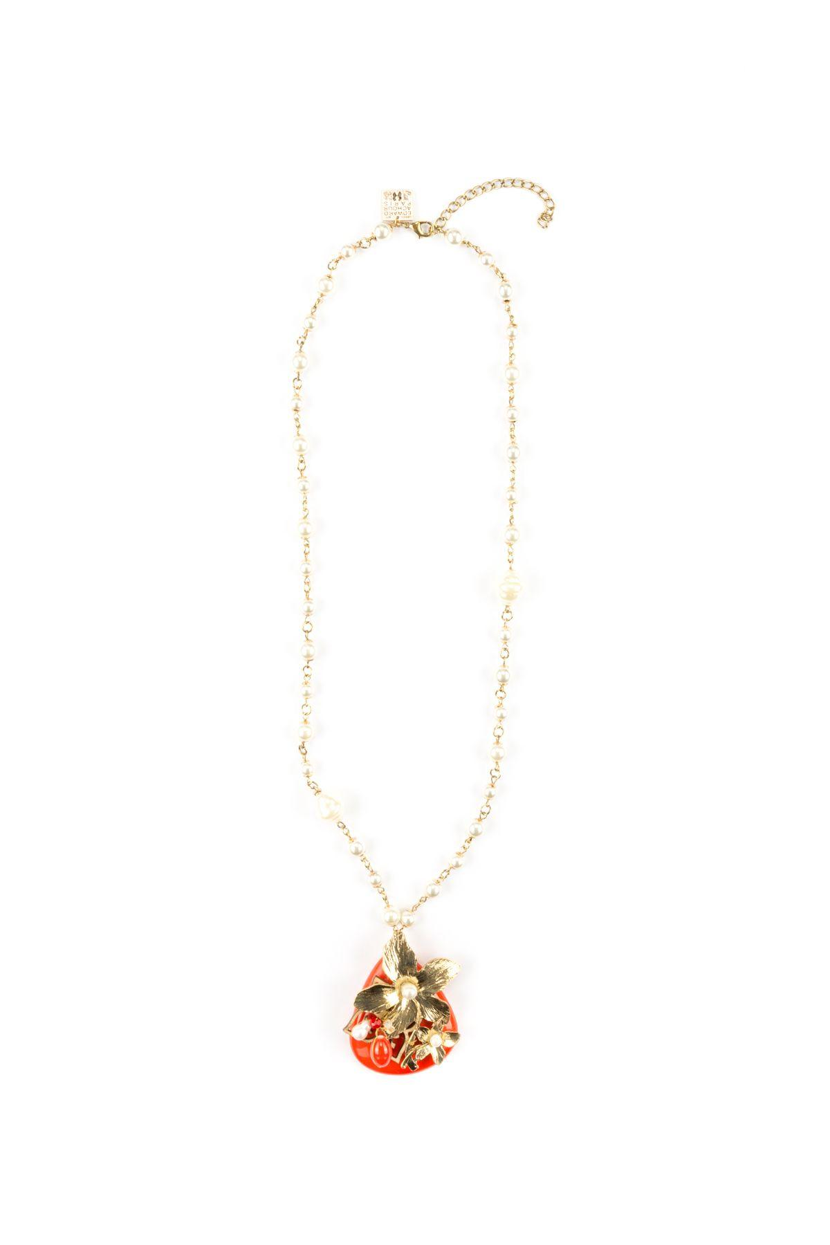 Edward Achour Pearl Necklace In Rougebianco