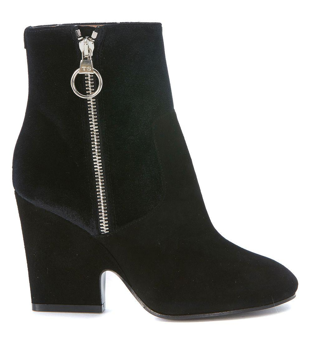 Twinset Twin-set Ankle Boots In Black Suede And Velvet In Nero