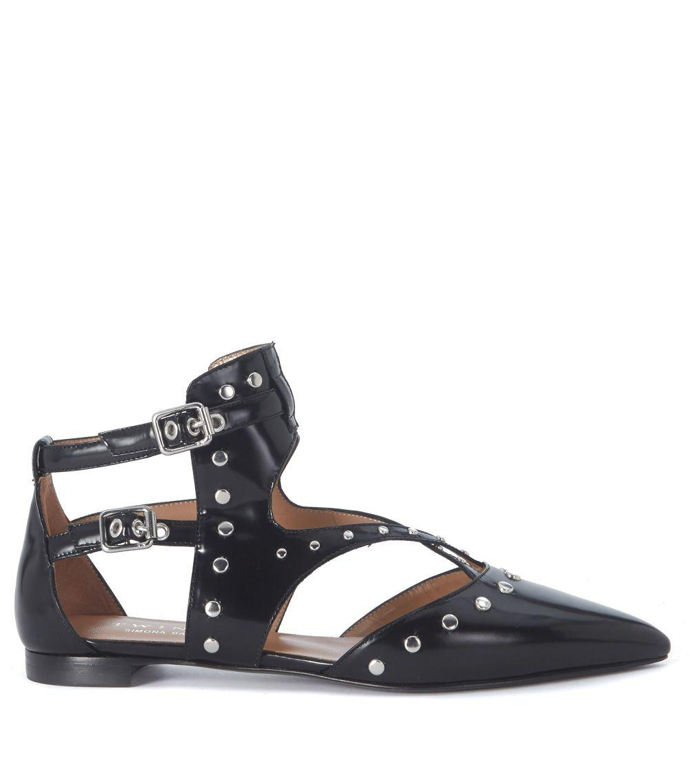 Twinset Twin-set Black Brushed Leather Flat Shoe With Studs In Nero