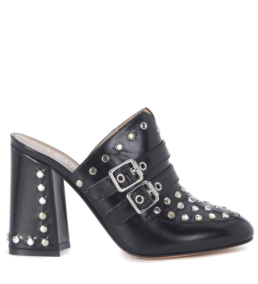 Twinset Twin-set Black Brushed Leather Sabot With Studs In Nero