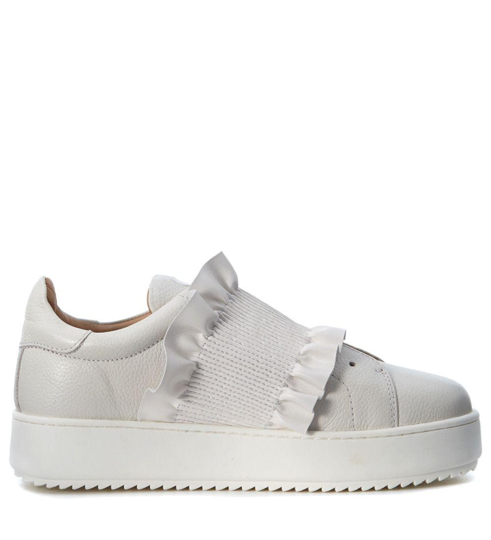 Twinset Sneaker In White Leather With Rouches In Bianco