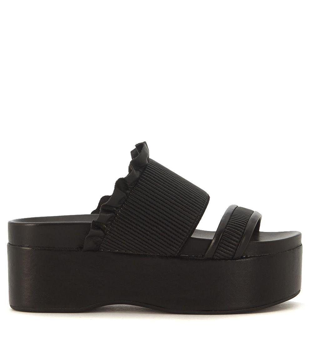 Twinset Wedge Slippers With Double Black Calf Leather Strap In Nero