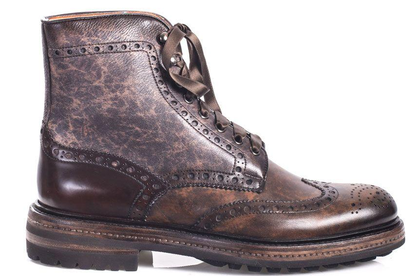 Santoni Laced Leather Brogue In Brown