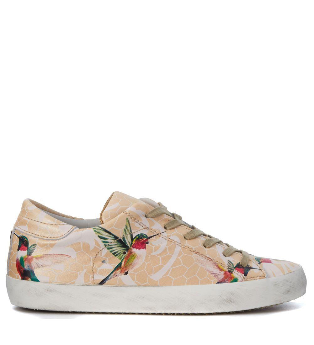 Philippe Model Tropical Birds Peach Leather Sneaker In Multicolor