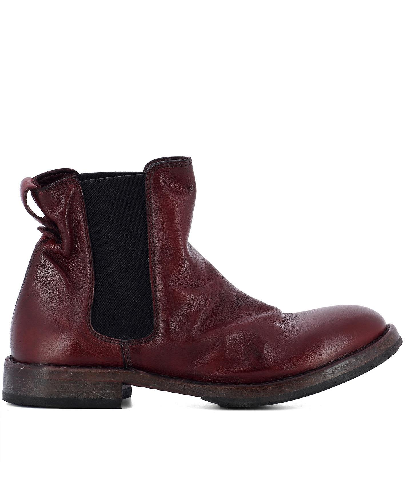 Moma Red Leather Ankle Boots