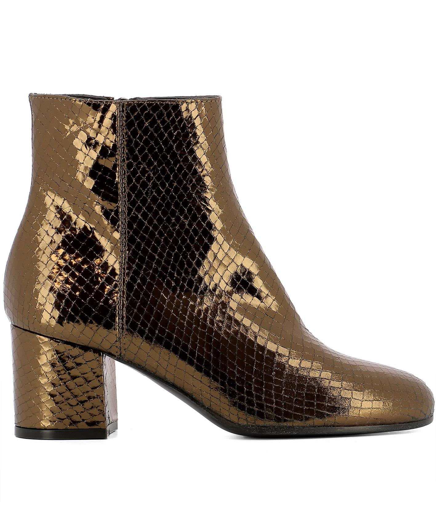 Paris Texas Bronze Leather Ankle Boots In Gold