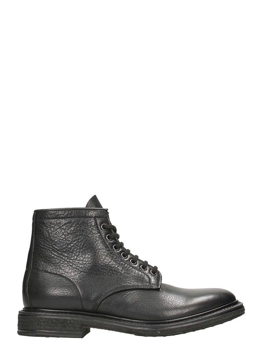 Premiata Black Leather Combat Boots