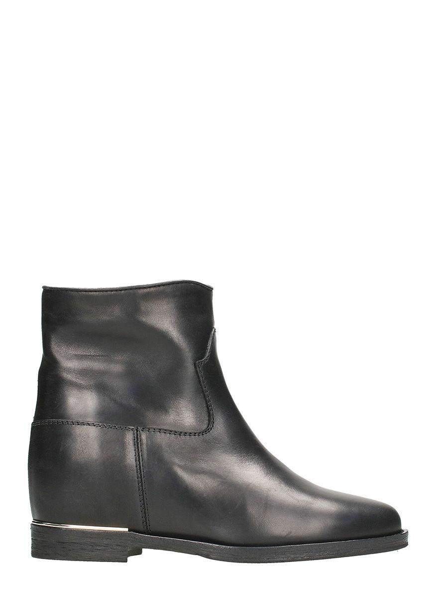 Via Roma 15 Black Nappa Wedge Ankle Boots