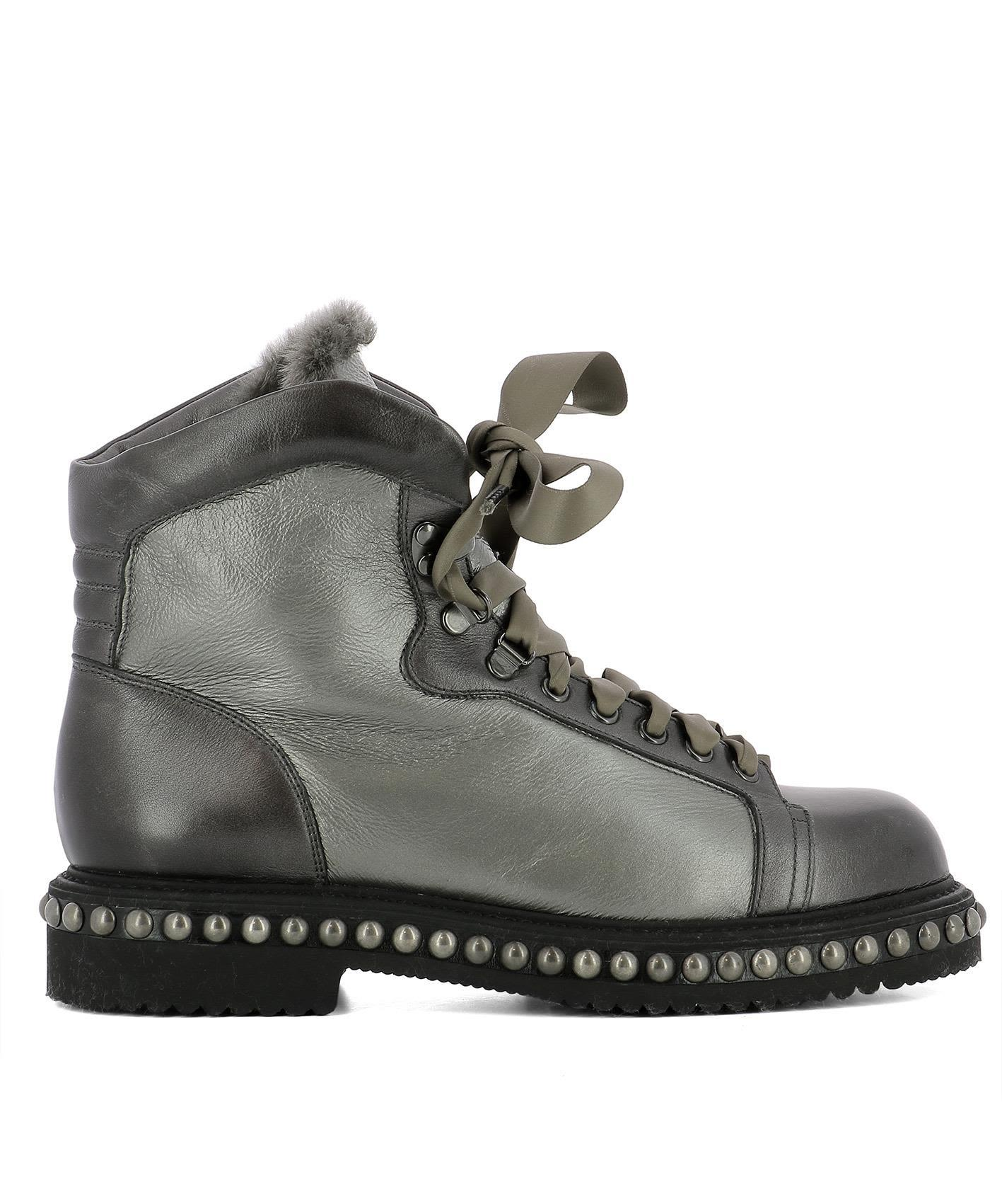 Santoni Silver Leather Ankle Boots