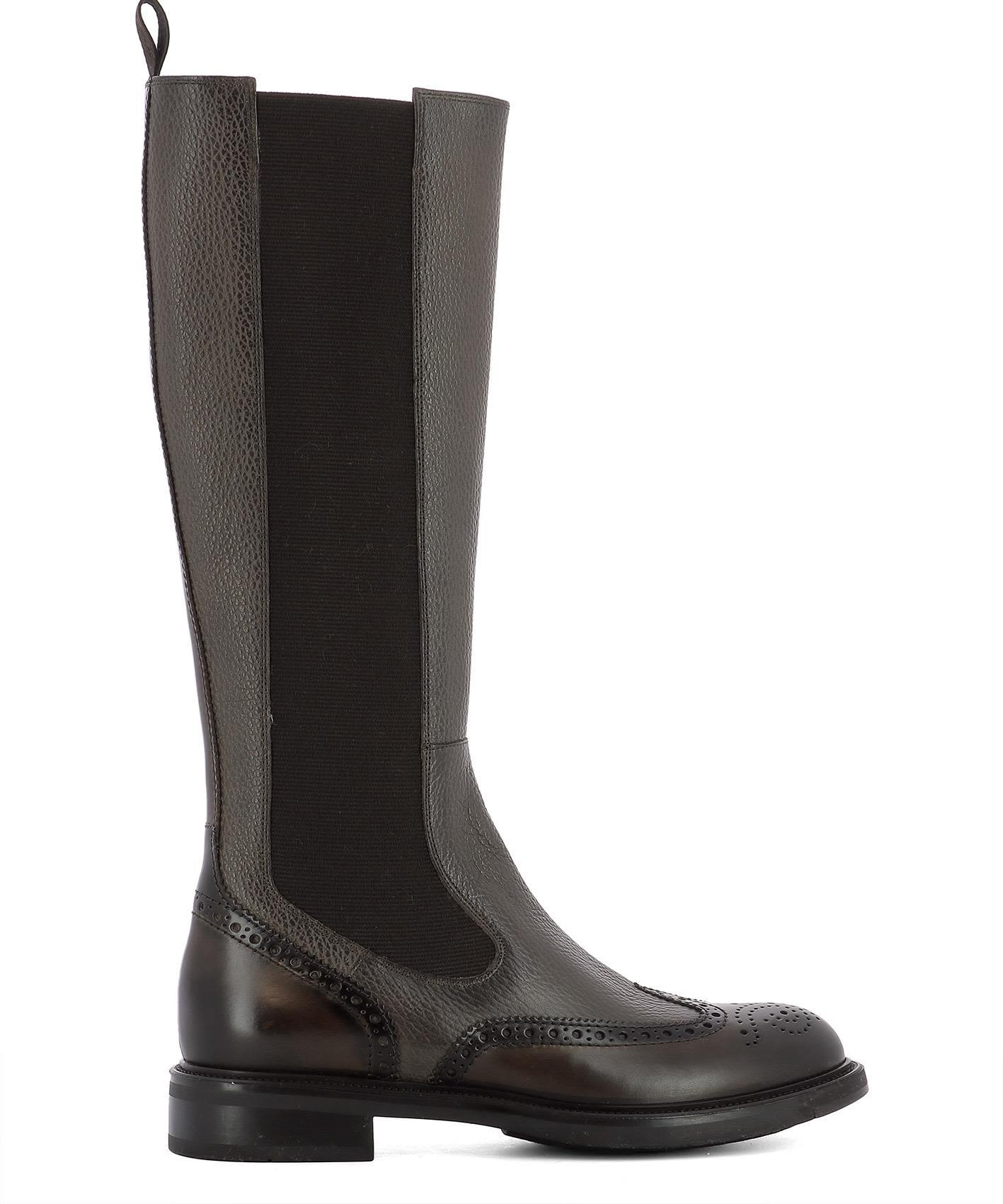 Santoni Brown Rubber Boots