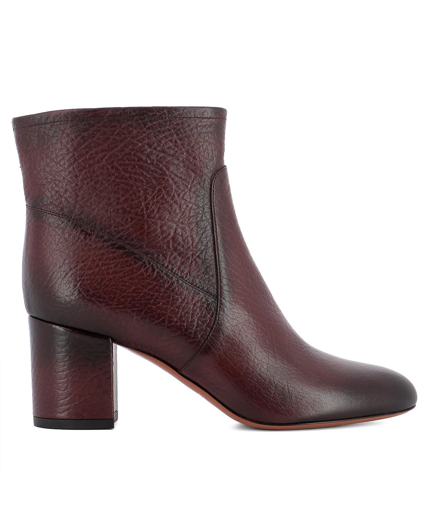Santoni Bordeaux Leather Ankle Boots In Red