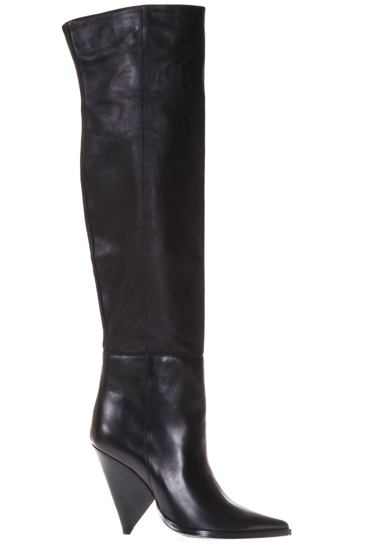 Aldo Castagna Geometric Heel Leather High Boots In Black