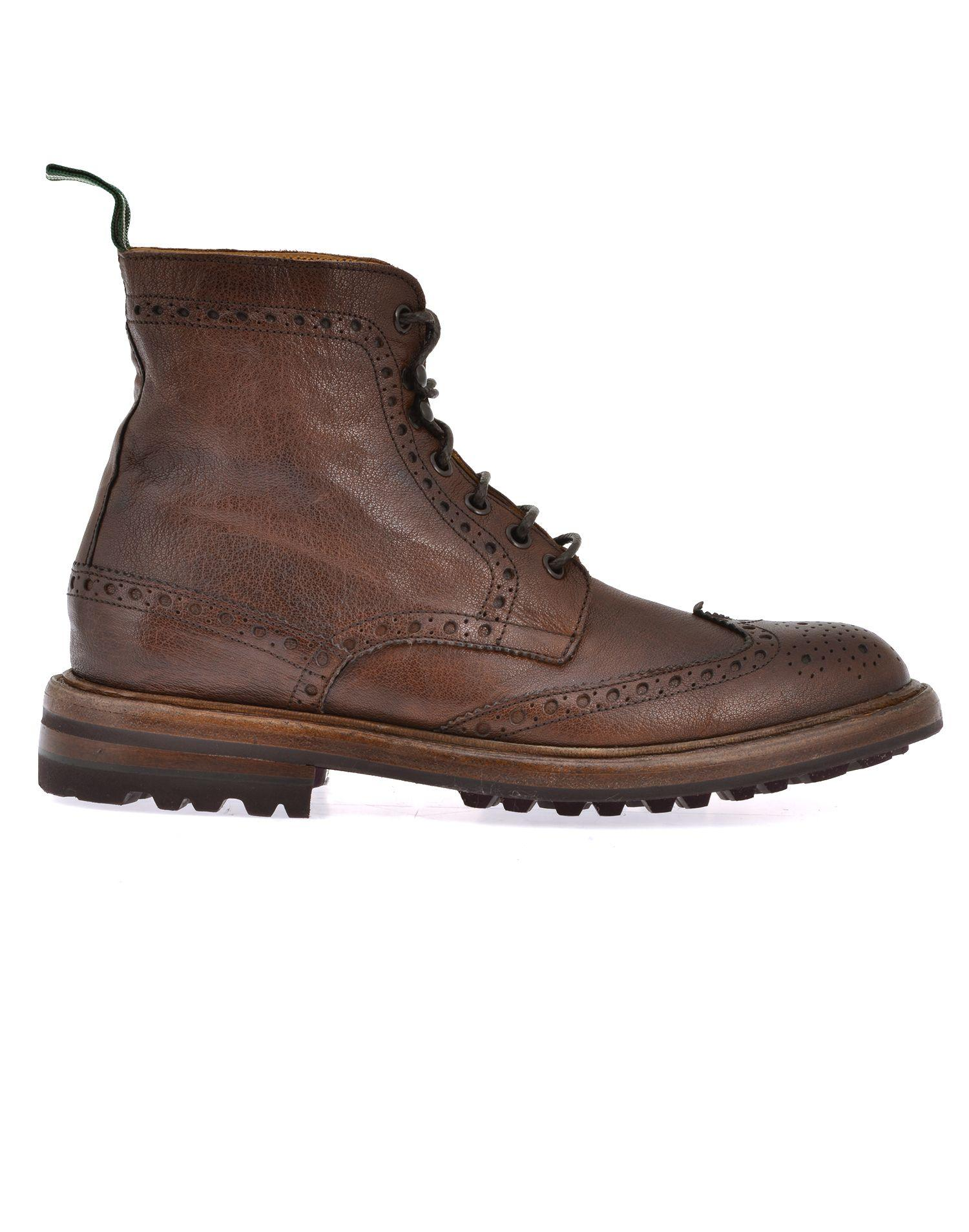 Green George Leather Army Boot In Brown