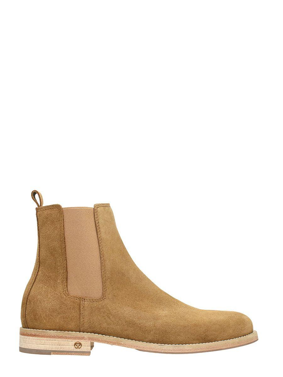 National Standard Edition14 In Beige Suede Boots In Leather Color