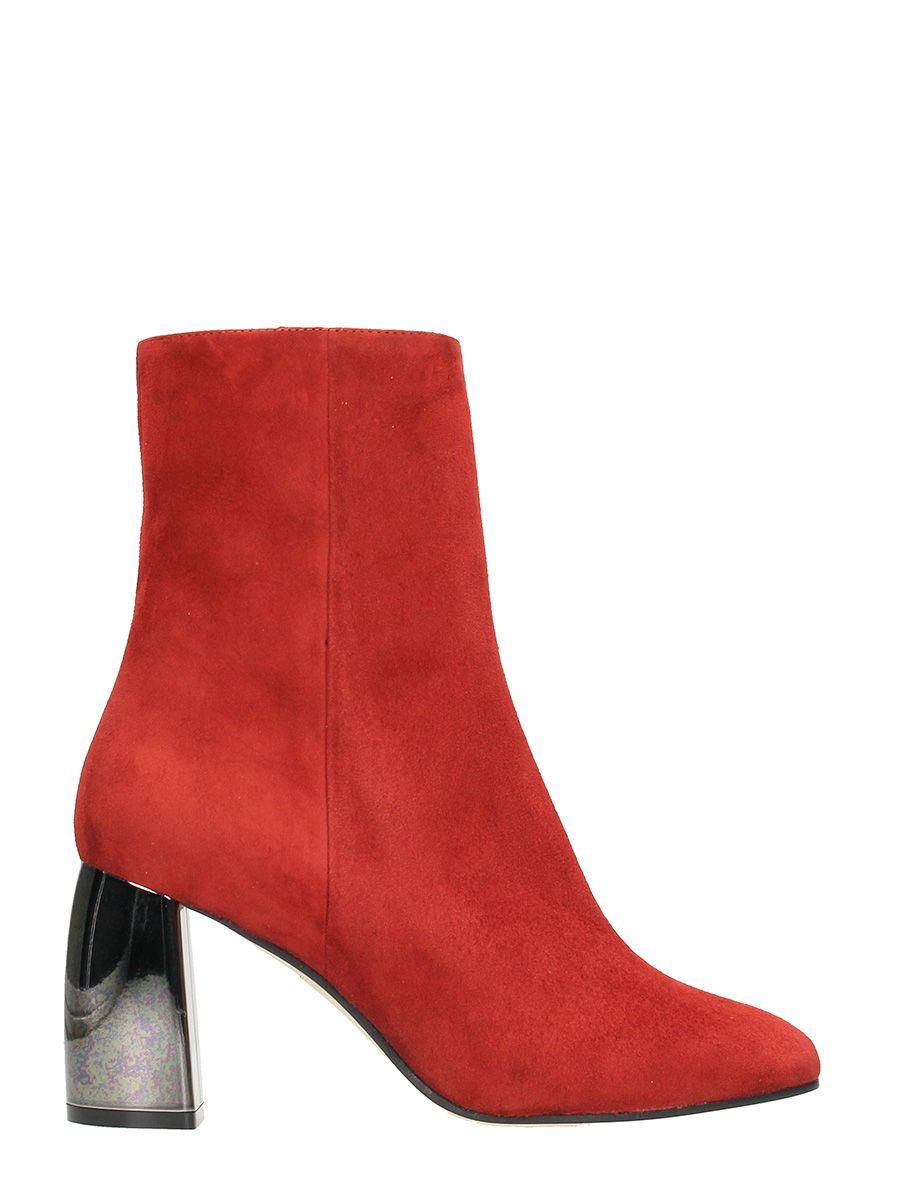 Marc Ellis Rust Suede Leather Zipped Boots In Red