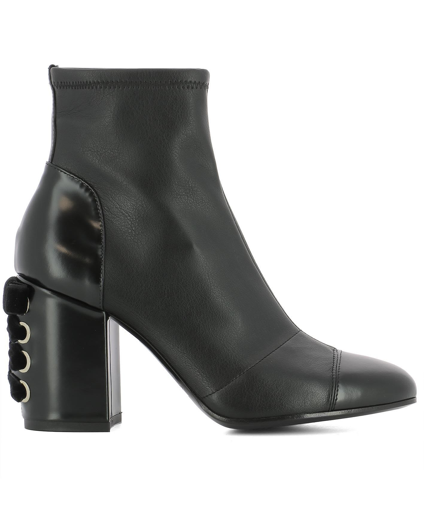Grey Mer Black Leather Heeled Ankle Boots