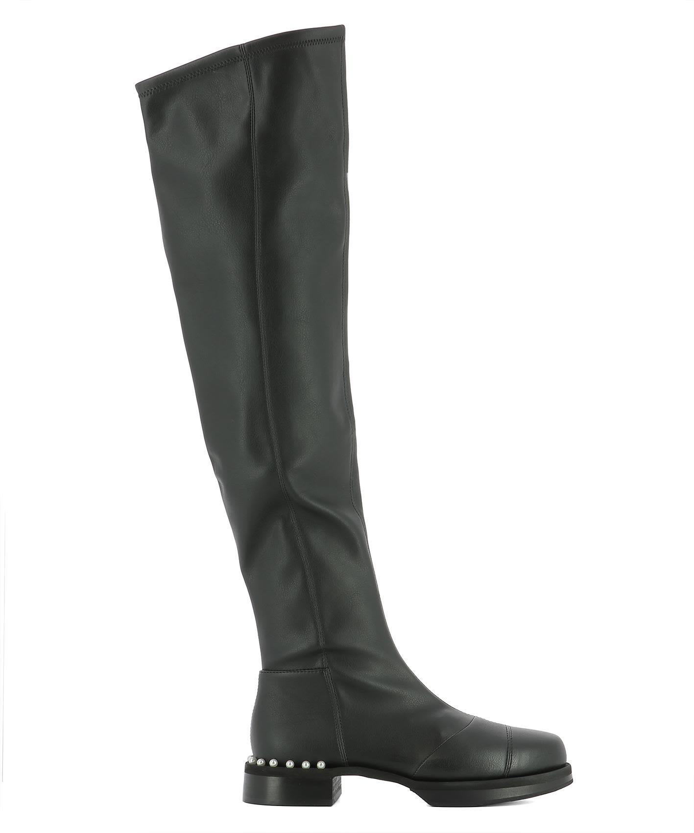 Grey Mer Black Leather Boots