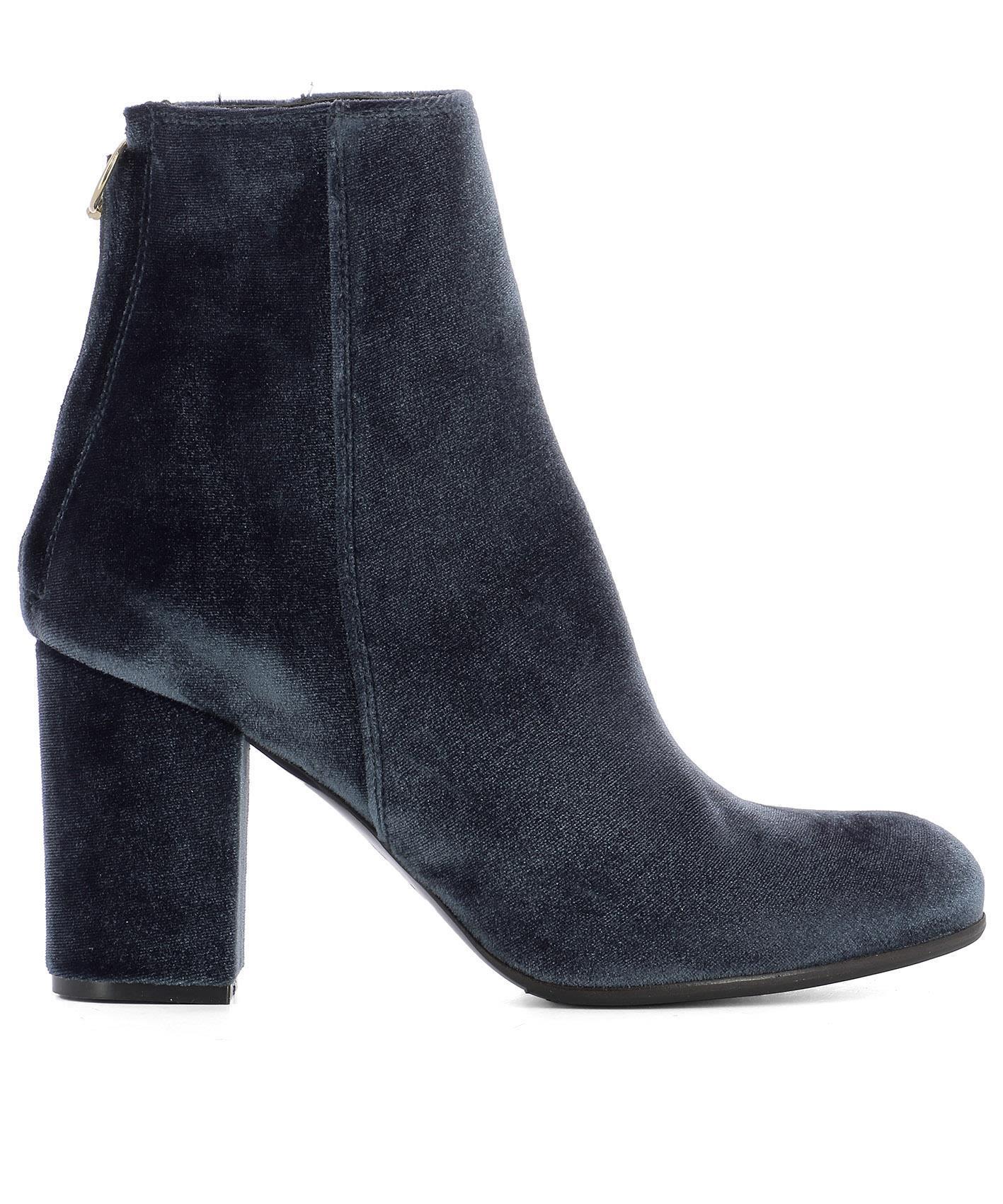 Paris Texas Blue Velvet Heeled Ankle Boots