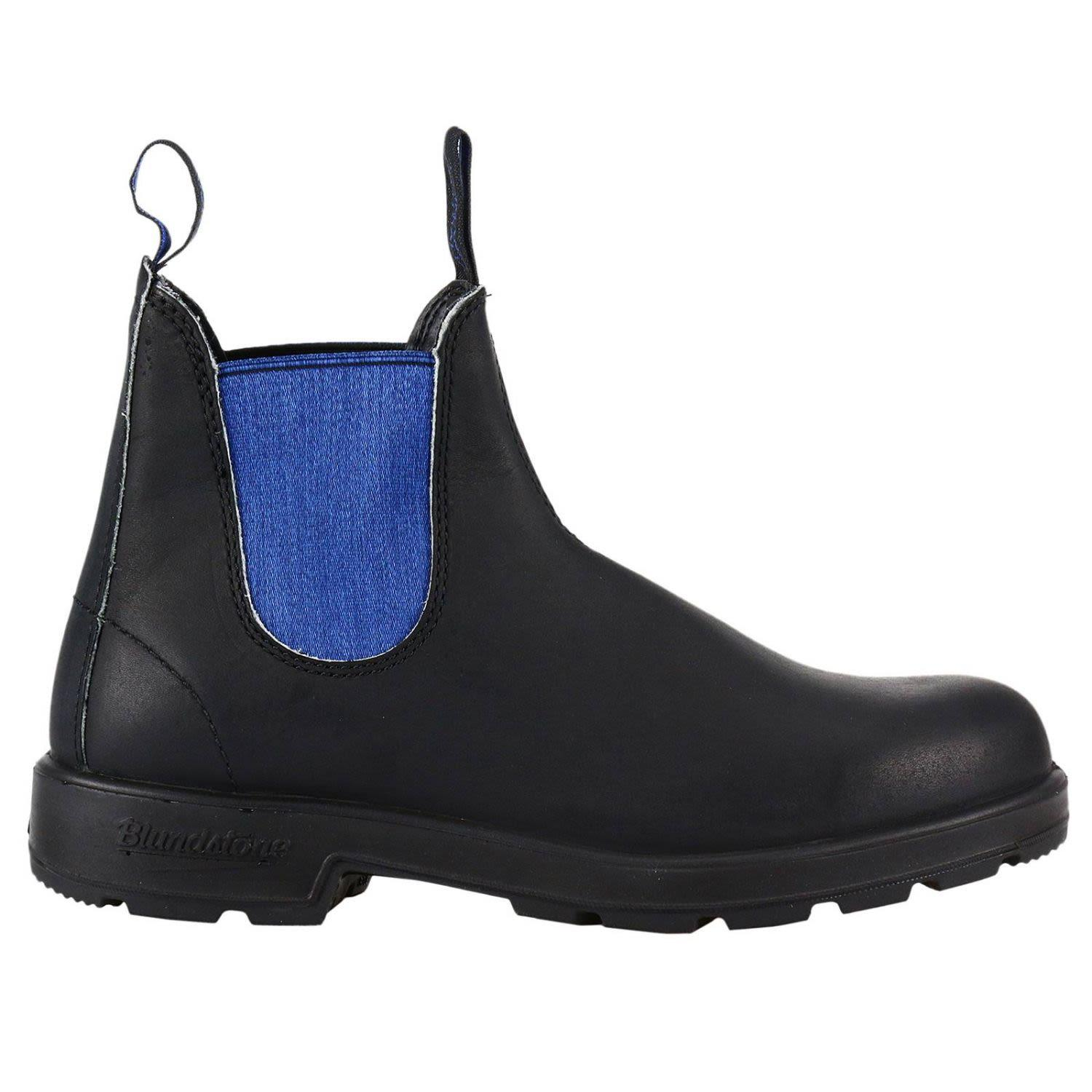 Blundstone Men's  Black Leather Ankle Boots In Blue