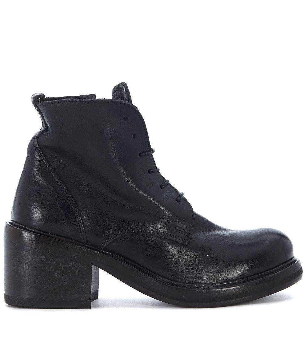 Moma Black Leather Ankle Boots With Laces And Zip In Nero