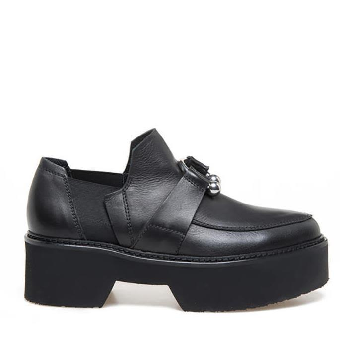 Vic Matie Semi-shiny Calfskin Moccasins With Metallic Piercing In Black