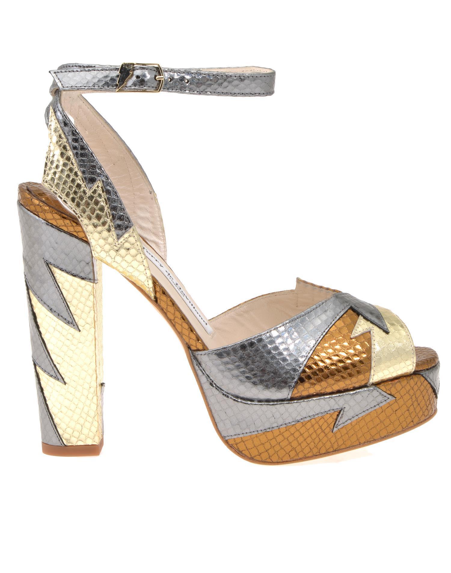 Terry De Havilland Leather Sandal In Gold-bronze
