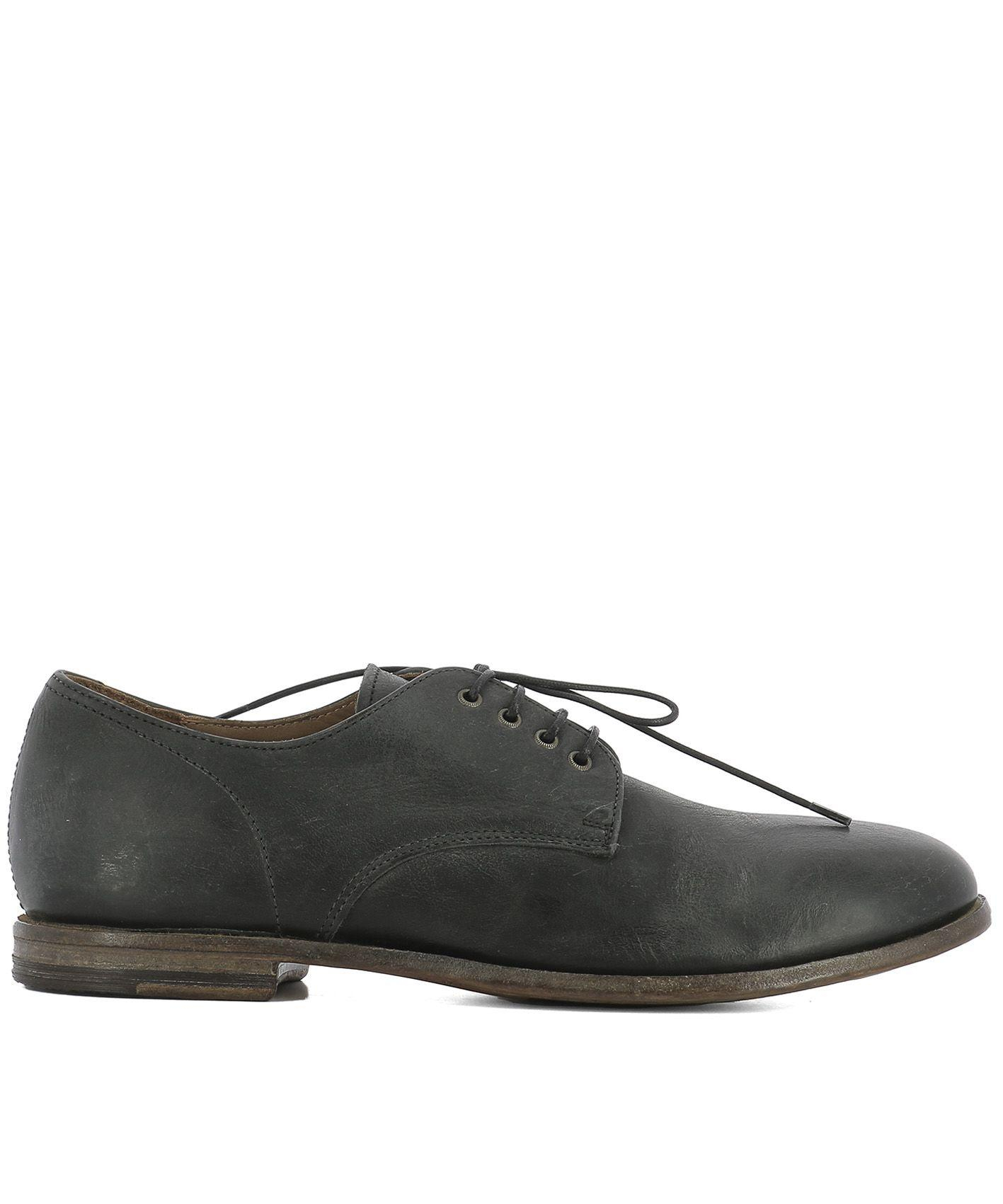 Moma Grey Leather Lace-up