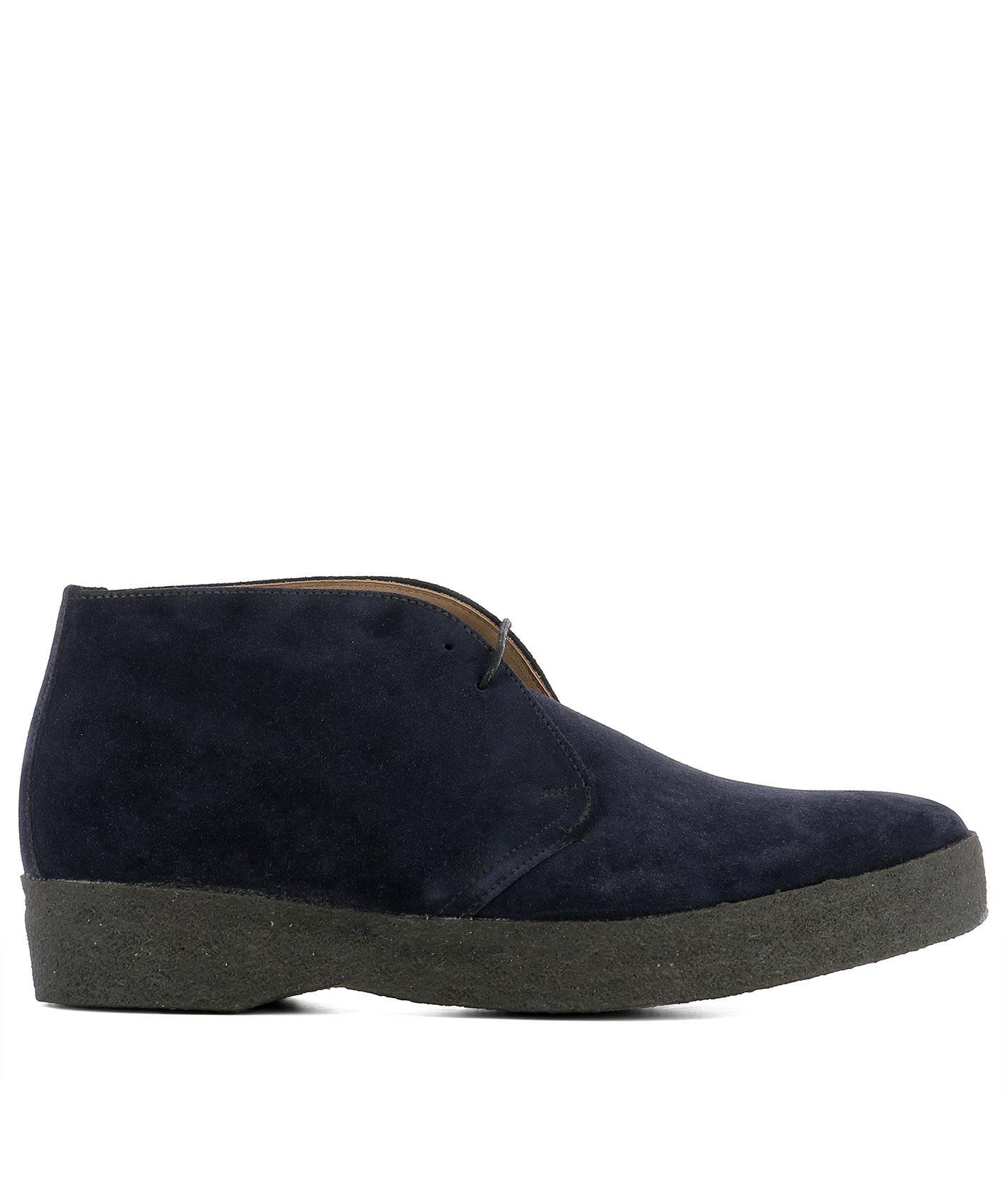 Sanders Blue Suede Ankle Boots In Navy