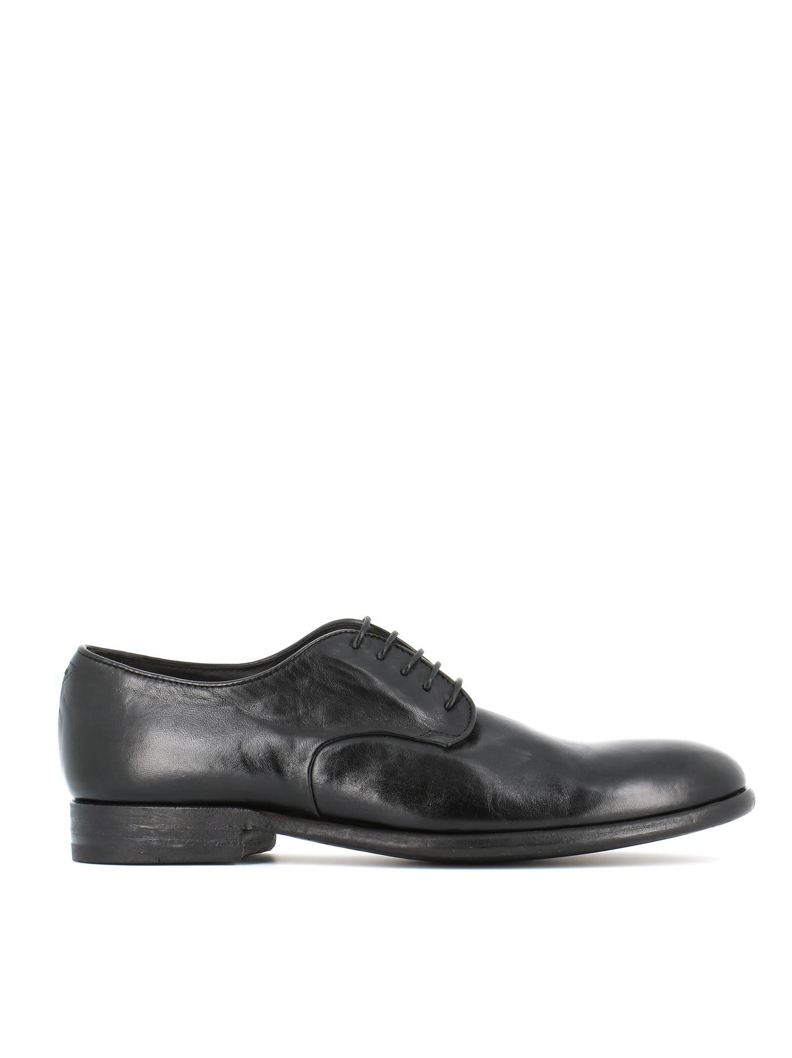 Pantanetti 10942e Smooth Derby Shoes In Black