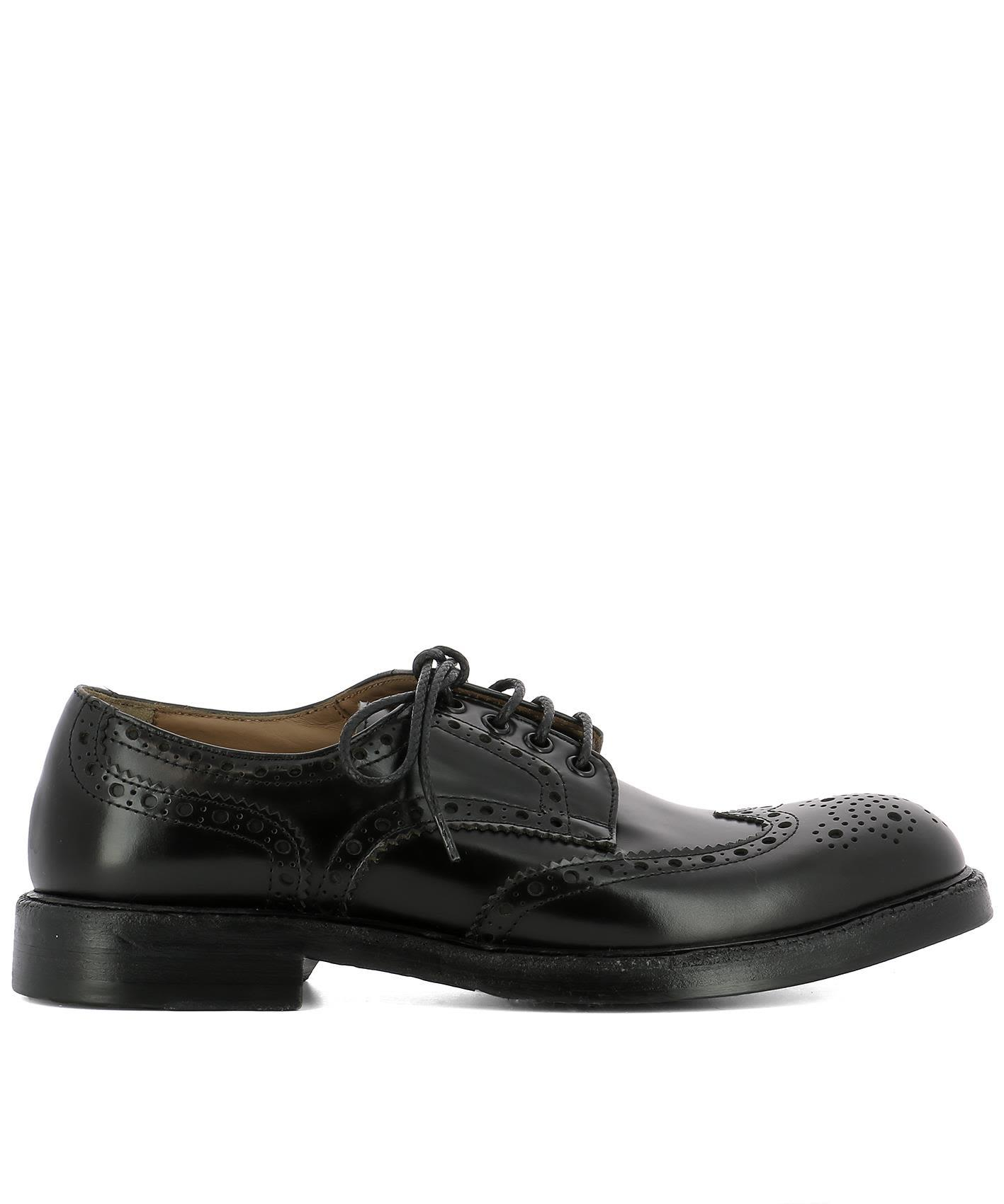 Green George Black Leather Lace-up