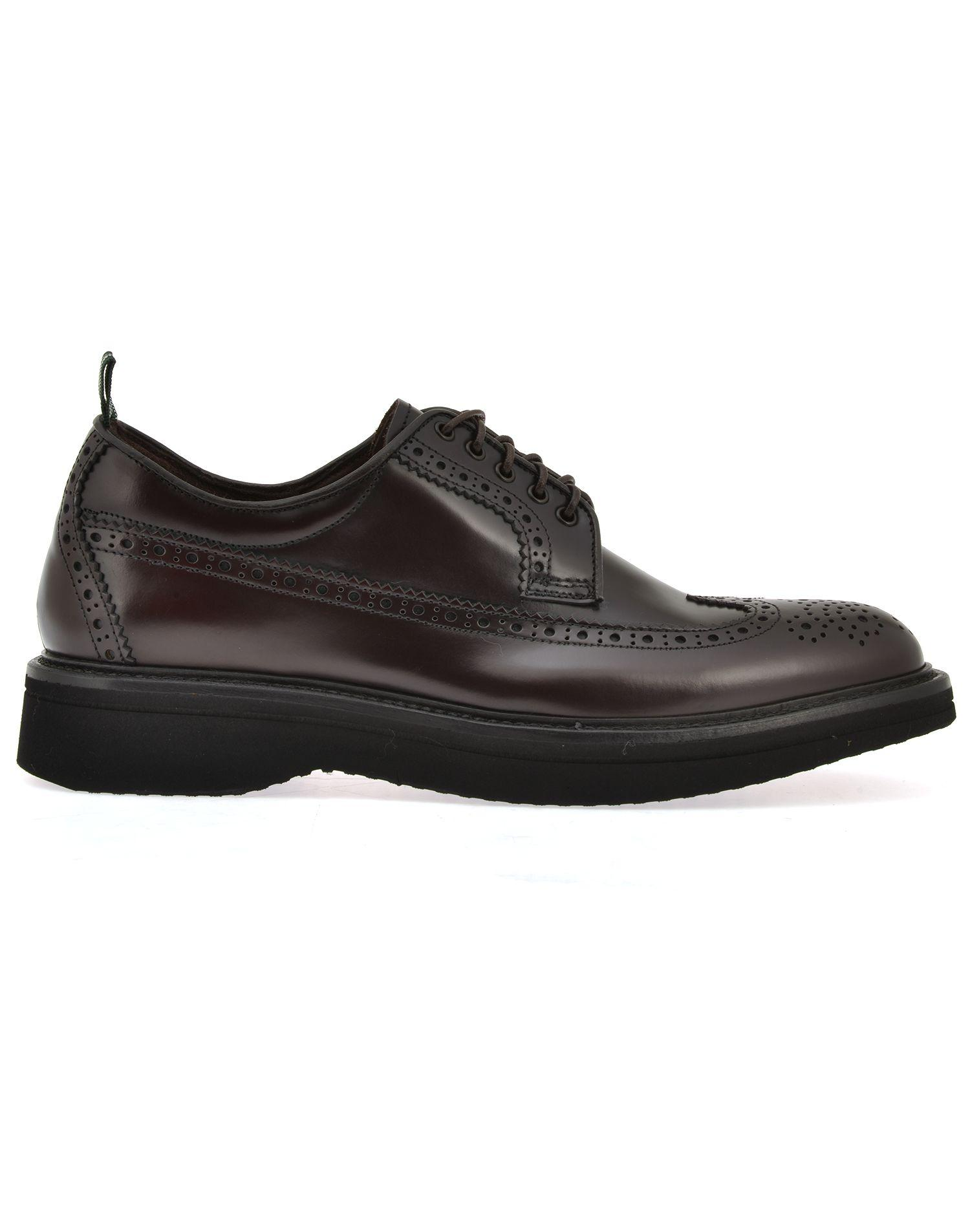 Green George Leather Lace Up Shoe In Burgundy