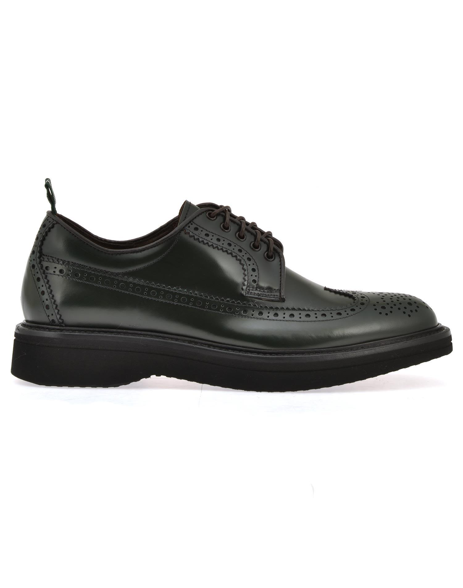 Green George Leather Lace Up Shoe In Black
