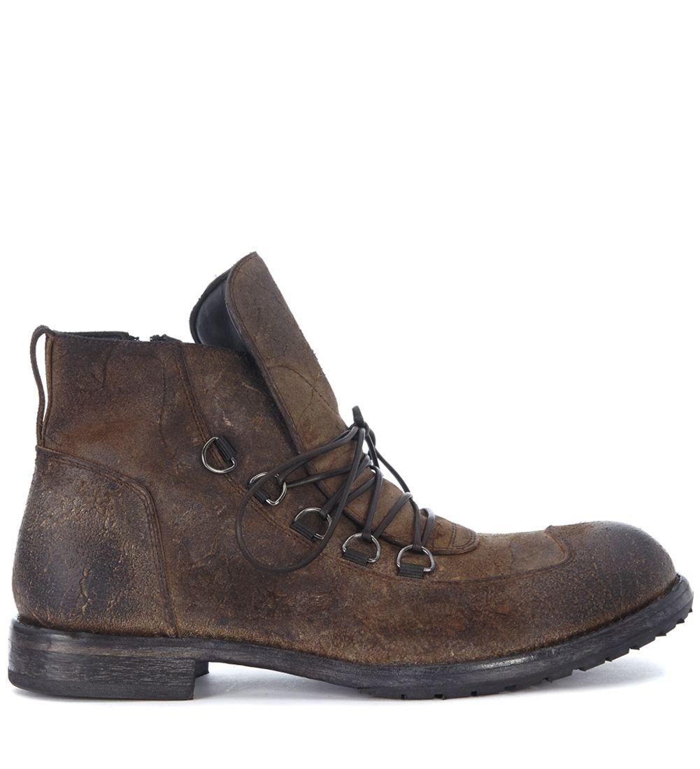 Moma Brown Vintage Leather Ankle Boots In Grigio