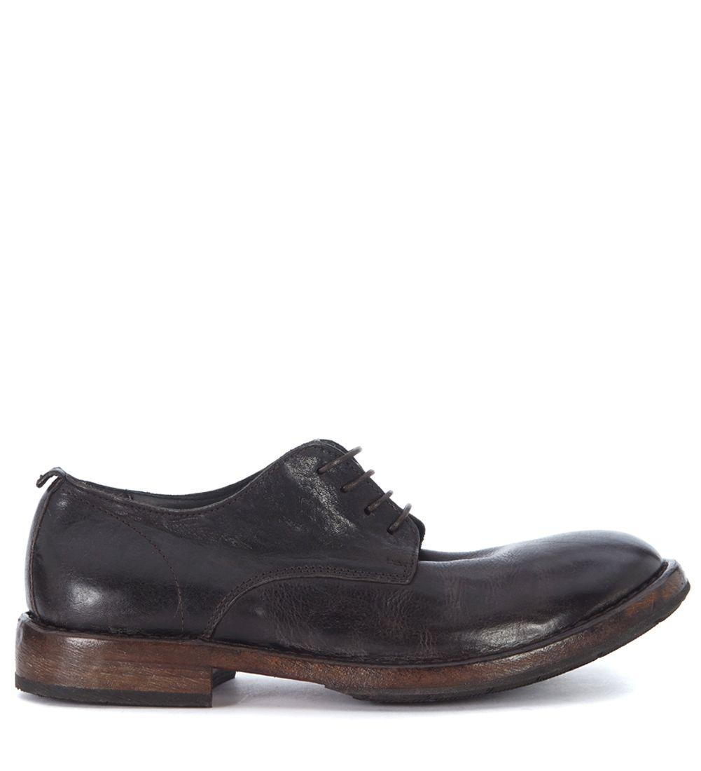 Moma Dark Brown Leather Lace Up In Marrone