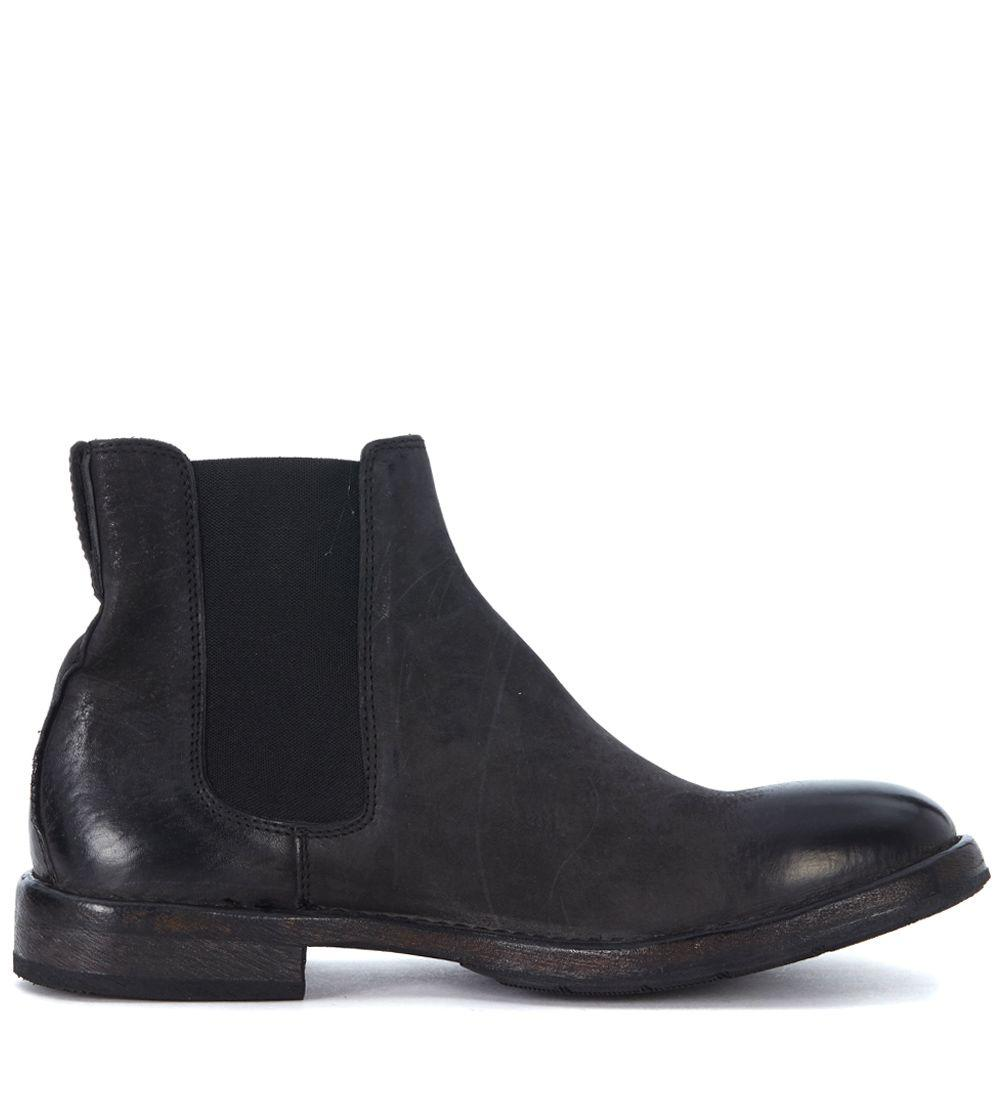 Moma Black Vintage Leather Ankle Boots In Nero