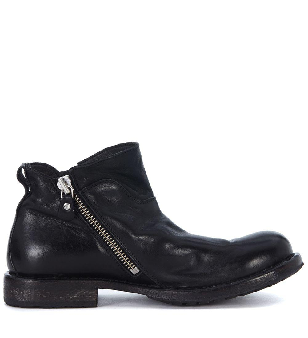 Moma Black Leather Ankle Boots With Double Slider Zip In Nero