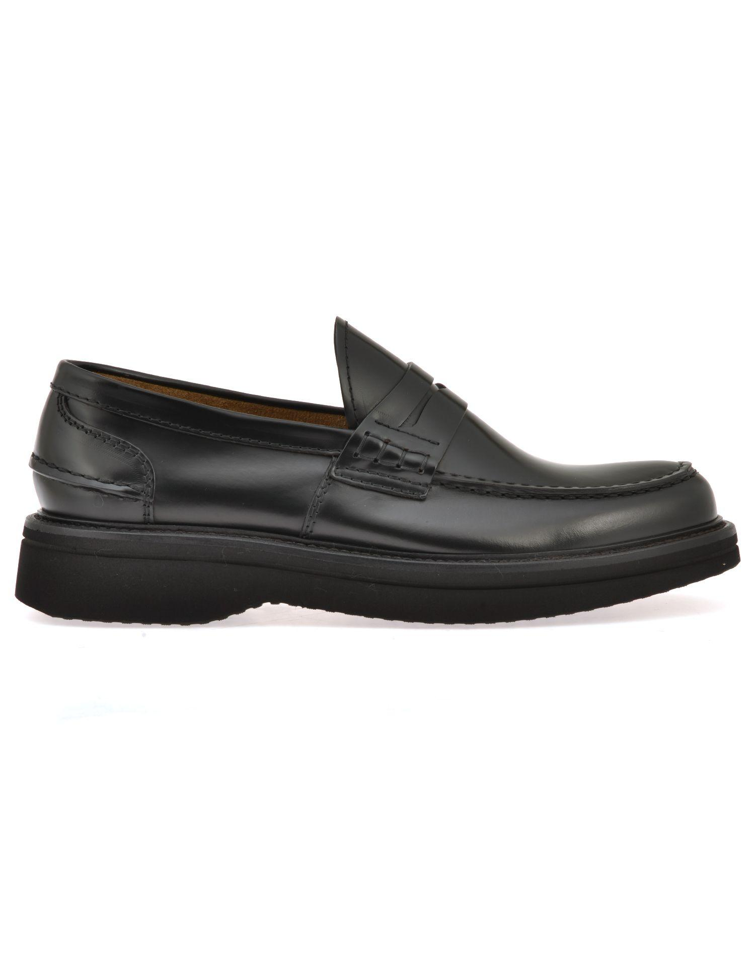Green George Leather Loafer In Black