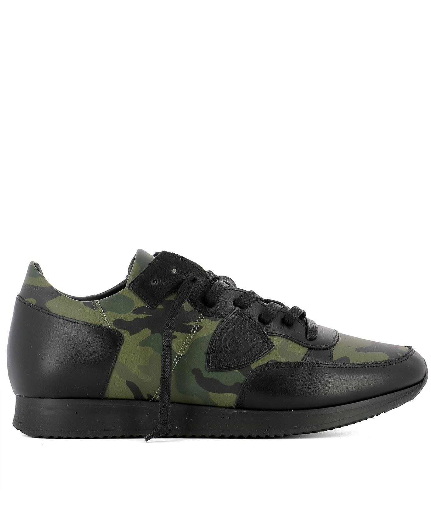 Philippe Model Green Leather Sneakers