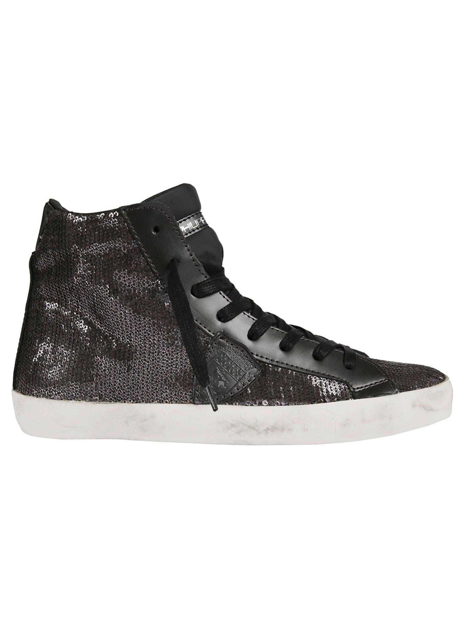 Philippe Model Embellished Sequins Hi-top Sneakers In Crisp
